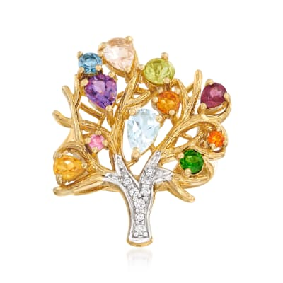 Orange Opal and 3.04 ct. t.w. Multi-Gemstone Tree of Life Ring in 18kt Gold Over Sterling