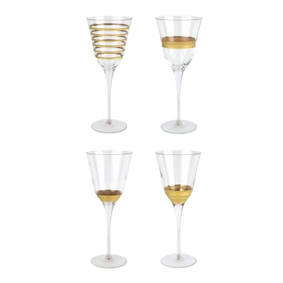 "Vietri ""Raffaello"" Set of 4 Assorted Wine Glasses from Italy"