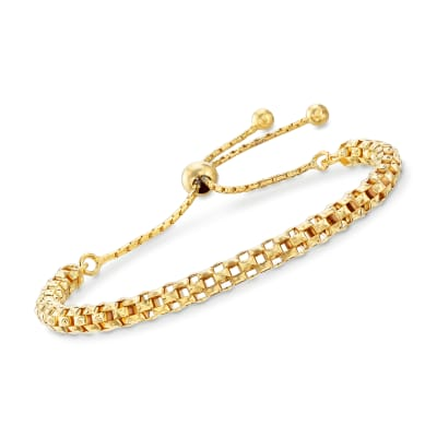 Italian 18kt Yellow Gold Over Sterling Silver Mesh Bolo Bracelet