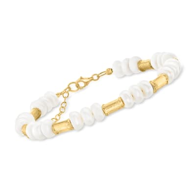 7-9mm Cultured Pearl Station Bracelet in 18kt Gold Over Sterling