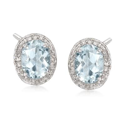 1.75 ct. t.w. Aquamarine Earrings with Diamond Accents in Sterling Silver