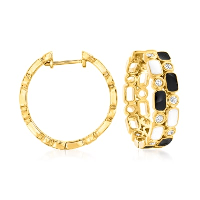 .25 ct. t.w. Diamond Hoop Earrings with Black and White Enamel in 18kt Gold Over Sterling