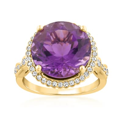 9.50 Carat Amethyst Ring with .42 ct. t.w. Diamonds in 14kt Yellow Gold