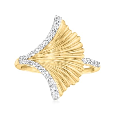 .26 ct. t.w. Diamond Ginko Leaf Ring in 18kt Gold Over Sterling