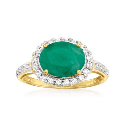 2.30 Carat Emerald and .25 ct. t.w. Diamond Ring in 14kt Yellow Gold