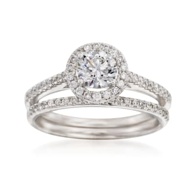 1.11 ct. t.w. Diamond Bridal Set: Engagement and Wedding Rings in 14kt White Gold