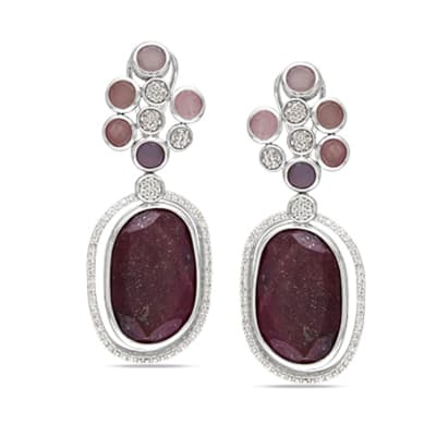 30.00 ct. t.w. Red Sapphire Drop Earrings with 6.00 ct. t.w. Multicolored Sapphires and .84 ct. t.w. Diamonds in 14kt White Gold