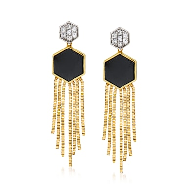 Black Onyx and .14 ct. t.w. Diamond Fringe Drop Earrings in 14kt Yellow Gold