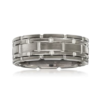 Men's 8mm Tungsten Carbide Link Wedding Ring
