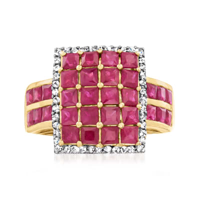 4.10 ct. t.w. Ruby Square-Top Ring with .22 ct. t.w. Diamonds in 14kt Yellow Gold