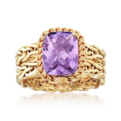 3.00 Carat Amethyst Woven Ring in 14kt Yellow Gold