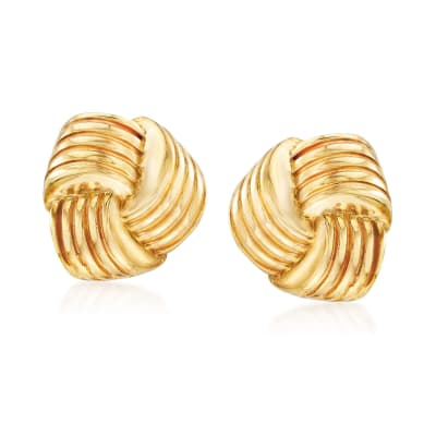 Italian 14kt Yellow Gold Puffed Knot Clip-On Earrings