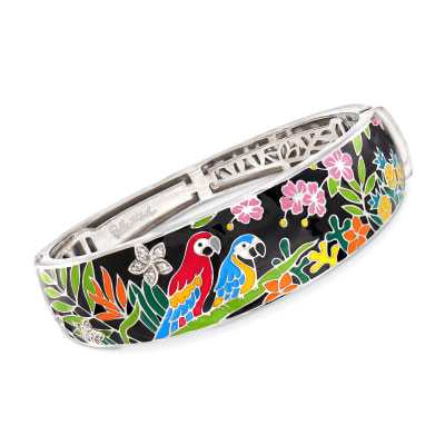 "Belle Etoile ""Macaw"" Multicolored Enamel Bangle Bracelet with CZ Accents in Sterling Silver"