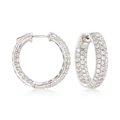3.00 ct. t.w. Diamond Inside-Outside Hoop Earrings in 14kt White Gold