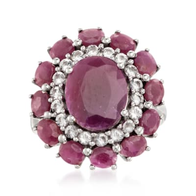 6.10 ct. t.w. Ruby and .60 ct. t.w. White Topaz Ring in Sterling Silver