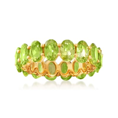7.10 ct. t.w. Peridot Eternity Band in 18kt Gold Over Sterling