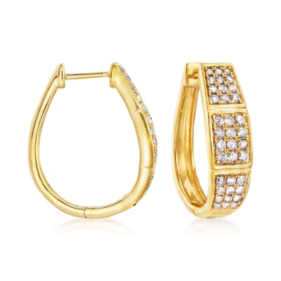 1.00 ct. t.w. Diamond Three-Row Hoop Earrings in 18kt Gold Over Sterling