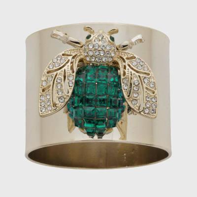 Joanna Buchanan Set of 2 Emerald Sparkle Bee Napkin Rings