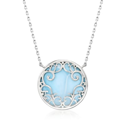 Larimar Filigree Circle Necklace in Sterling Silver