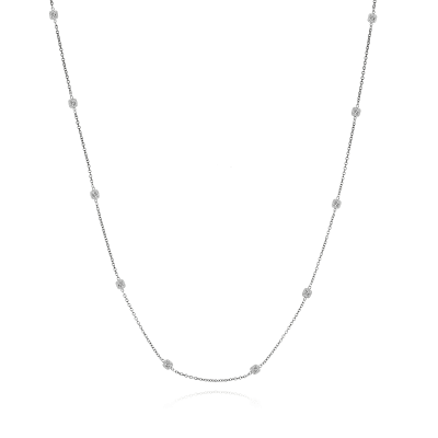 3.40 ct. t.w. Diamond Station Necklace in 14kt White Gold