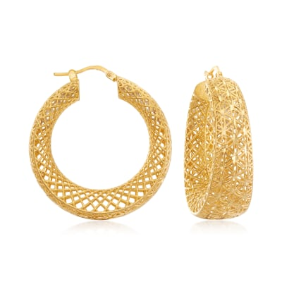 Italian 18kt Gold Over Sterling Openwork Hoop Earrings