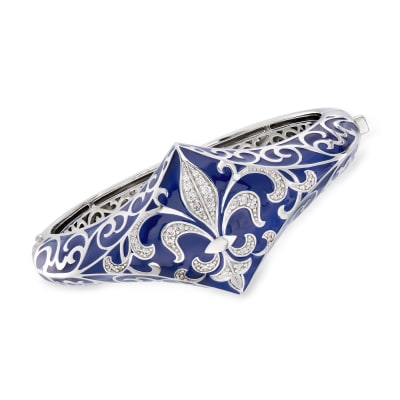 "Belle Etoile ""Josephine"" Blue Enamel and .63 ct. t.w. CZ Bangle Bracelet in Sterling Silver"