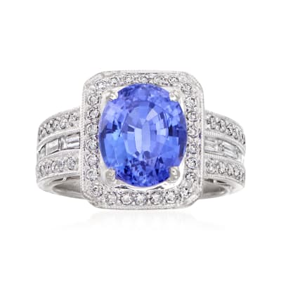 C. 1990 Vintage 4.01 Carat Tanzanite and .82 ct. t.w. Diamond Ring in 18kt White Gold with 18kt Yellow Gold