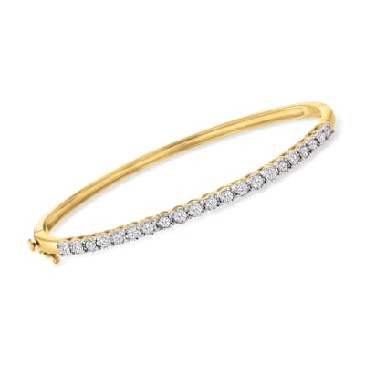 1.00 ct. t.w. Diamond Bangle Bracelet in 18kt Gold Over Sterling