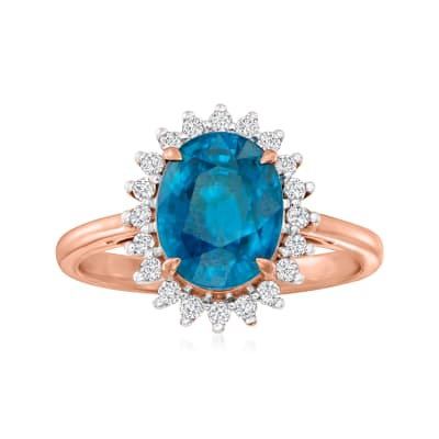 4.70 Carat Blue Zircon Ring with .29 ct. t.w. Diamonds in 18kt Rose Gold