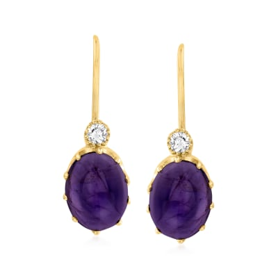 C. 1980 Vintage 3.70 ct. t.w. Amethyst and .10 ct. t.w. Diamond Drop Earrings in 14kt Yellow Gold