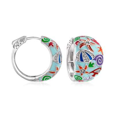 .10 ct. t.w. White Topaz and Multicolored Enamel Sea Life Hoop Earrings in Sterling Silver