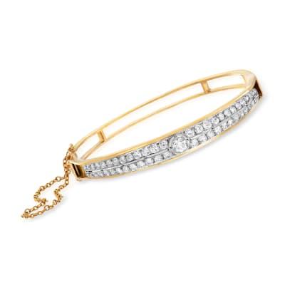 C. 1950 Vintage 2.25 ct. t.w. Diamond Double-Row Bangle Bracelet in 14kt Yellow Gold