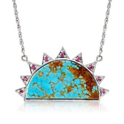 Stabilized Turquoise and .26 ct. t.w. Rhodolite Garnet Sun Necklace in Sterling Silver