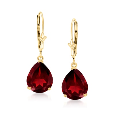 7.00 ct. t.w. Pear-Shaped Garnet Drop Earrings in 14kt Yellow Gold