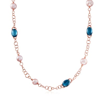 C. 2000 Vintage Mimi Milano 8.5x11mm Violet Cultured Pearl and 34.50 ct. t.w. London Blue Topaz Section Necklace in 18kt Rose Gold