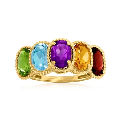 3.95 ct. t.w. Multi-Gemstone Ring in 14kt Yellow Gold