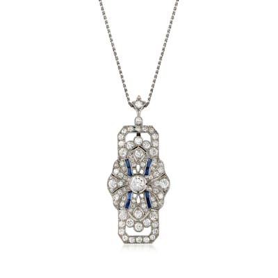 C. 1950 Vintage Synthetic Sapphire and 3.50 ct. t.w. Diamond Pendant Necklace in Platinum