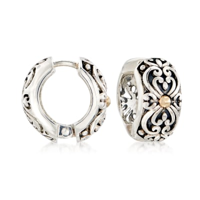 Sterling Silver and 14kt Gold Scrollwork Huggie Hoop Earrings