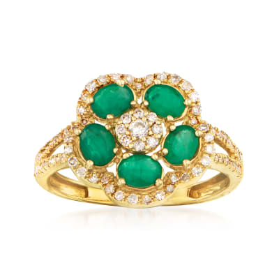 .80 ct. t.w. Emerald and .35 ct. t.w. Diamond Flower Ring in 14kt Yellow Gold