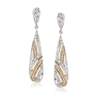 "Andrea Candela ""Arco Iris"" .15 ct. t.w. Diamond Drop Earrings in Sterling Silver and 18kt Yellow Gold"