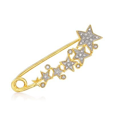 .10 ct. t.w. Diamond Star Safety Pin in 18kt Gold Over Sterling