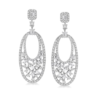 1.53 ct. t.w. Baguette and Round Diamond Drop Earrings in 14kt White Gold