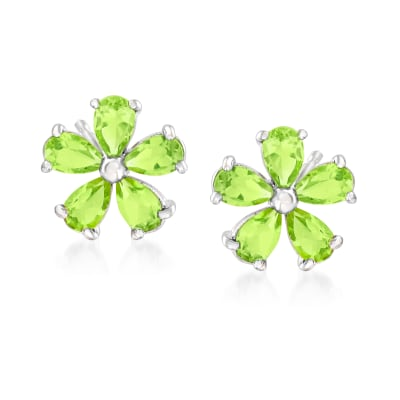 2.10 ct. t.w. Peridot Flower Earrings in Sterling Silver