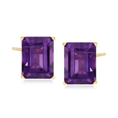 10.00 ct. t.w. Amethyst Stud Earrings in 14kt Yellow Gold