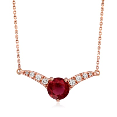 2.00 Carat Pink Tourmaline and .24 ct. t.w. Diamond V-Shaped Necklace in 14kt Rose Gold