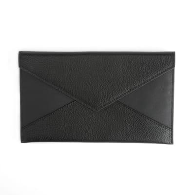 Royce Black Leather Envelope Clutch