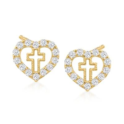 Child's .10 ct. t.w. CZ Heart Cross Earrings in 14kt Yellow Gold