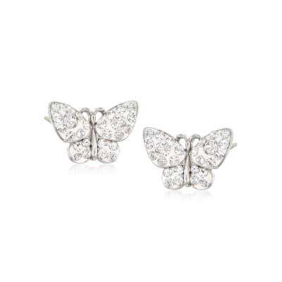 Crystal and White Enamel Butterfly Stud Earrings in Sterling Silver