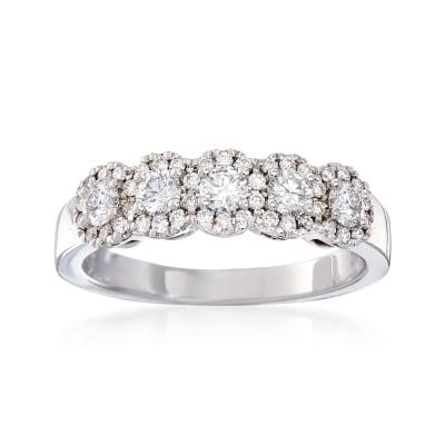 Henri Daussi .65 ct. t.w. Five-Stone Diamond Ring in 18kt White Gold