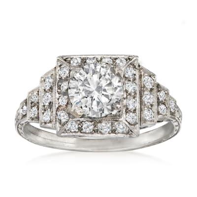 C. 1930 Vintage 1.47 ct. t.w. Diamond Ring in Platinum